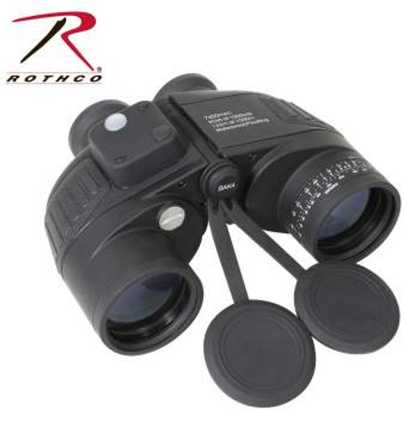 7 X 50 in Black #20273 Rothco's Military Type Binoculars are waterproof & fog proof, buoyant, O-ring sealed & Nitrogen filled. In addition the Binoculars feature a built in compass, range finding reticule, illumination reading and speedy range finding dial. Compass also includes a Nylon case, cleaning cloth, 2 batteries and instructions for use.