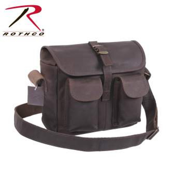 """Rothco's Brown Leather Military Style Ammo Bag is made with a premium rugged leather that is both durable and stylish. The Leather Ammo Bag features main compartment w/interior zippered pocket, 2 front snap closure pockets, front flap w/strap & metal buckle closure, 1½"""" wide adjustable leather shoulder strap, antique brass hardware and measures 10"""" x 8"""" x 3½"""