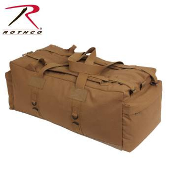 """Rothco's Mossad tactical duffel is made of rugged heavyweight canvas material and waterproof bottom ensuring lasting durability and protection from the elements. For easy carry, this military style duffle bag has two adjustable padded shoulder straps as well as extra-long reinforced top carry handles. The duffle bag measures 34"""" x 15"""" x 12"""" giving you enough space to carry all your gear. In addition, the canvas Mossad style duffle features lashing gear rings, vinyl d-rings, 3 zippered outside pockets, 1 deep side zippered pocket, inside security pouch and the outside features a see through ID holder."""
