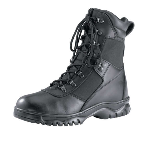 Rothco's Waterproof Force Entry Tactical Boots Feature A Waterproof Leather And Nylon Upper Leather Collar, Steel Shank, Gusseted Tongue, Slip-Resistant Cup Sole, Rust-Proof Hardware Speed Lace Eyelets And A Moisture-Wicking Lining. Rothco's Tactical Boots Are Available In Sizes 4 To 15 (Half Sizes 6.5 to 10.5)