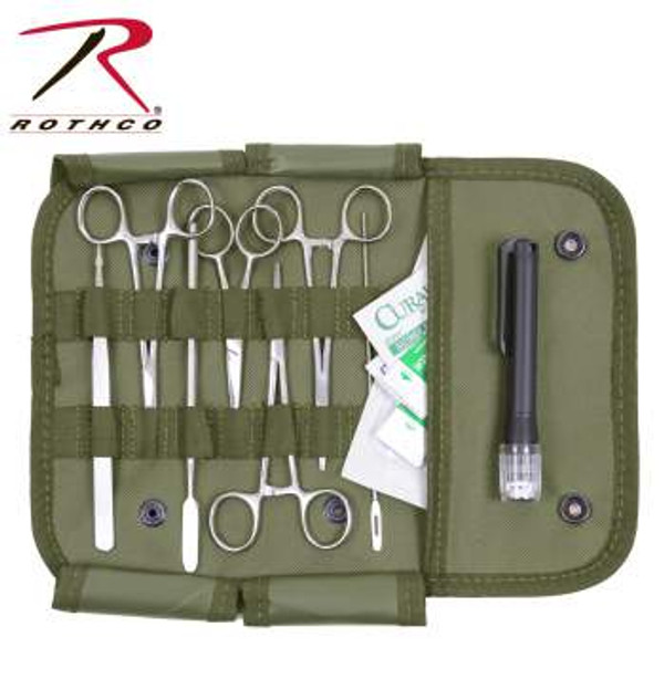 """The Rothco Surgical Kit features all stainless steel medical instruments in a nylon MOLLE compatible pouch. The contents of the surgical kit include 2 straight hemostats, a curved hemostat, a pair of scissors, tweezers, a #3 scalpel handle, 2 scalpel blades, a suture set, a holder, a needle probe, 2 alcohol wipes, 2 antiseptic BZK wipes, and a pen light. Pouch measures 6"""" x 11"""" x 0.5"""". Instruments are not sterile."""