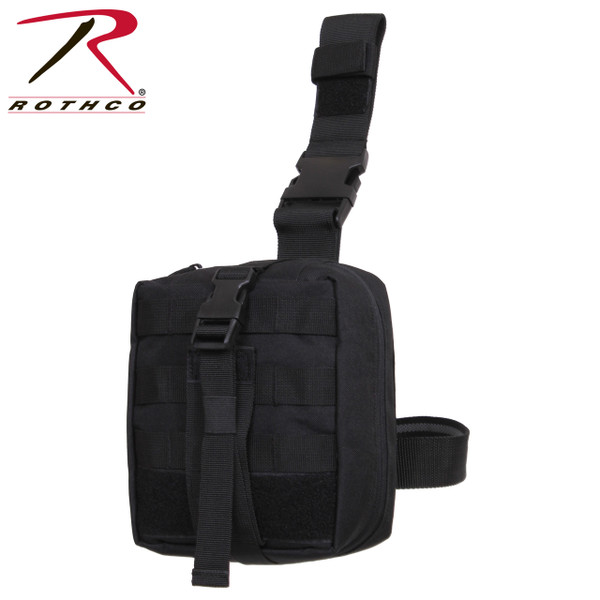 Rothco's Drop Leg Medical Pouch is a MOLLE compatible tri-fold out pouch that attaches to the belt and leg. The pouch features a tear away loop platform for quick removal and cinch straps with side release buckles. The drop leg medical pouch features 13 elastic storage loops, a mesh zipper fold out pouch, 2 open top pockets, and double zipper closure.