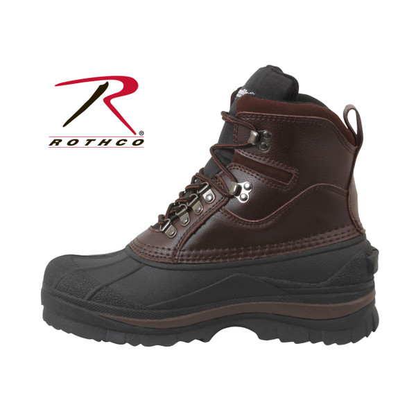 "Rothco 8"" Cold Weather Hiking Boots are perfect for cold, snowy and wet conditions, these winter boots keep feet warm and dry. Rothco's patented Thermoblock technology provides insulation (200 gm) for warmth and the suede leather uppers offer comfortable protection from the elements. These cold weather boots also feature EVA midsole, taped seams for waterproofing, and rubber outsoles that provide pliable traction in cold, wet and snowy conditions."