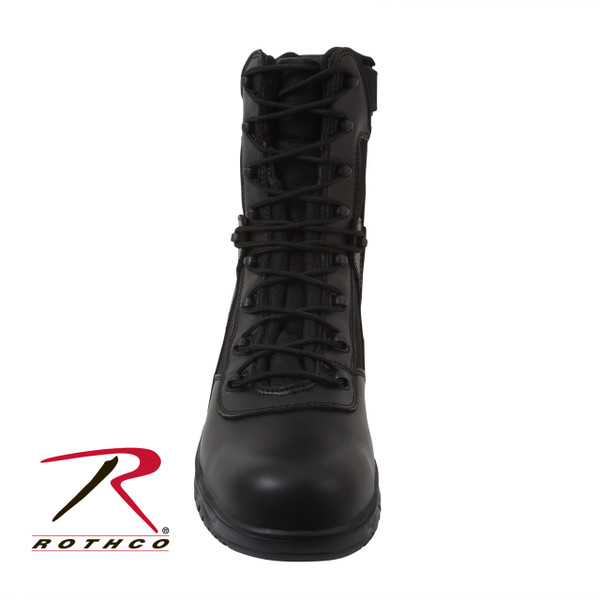 Rothco's Forced Entry Tactical Boot w/ Side Zipper and Composite Toe features a non-metallic, composite toe and shank that makes the boot non-conductive.