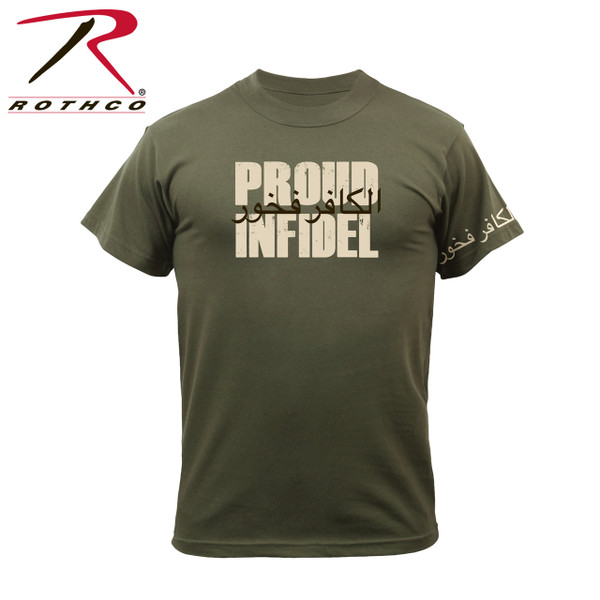 """61360-Proud Infidel-Olive Drab Tee Rothco's graphic t-shirt features an Infidel logo with corresponding text """"Proud Infidel"""". Printing on the left shoulder also displays the Infidel logo."""