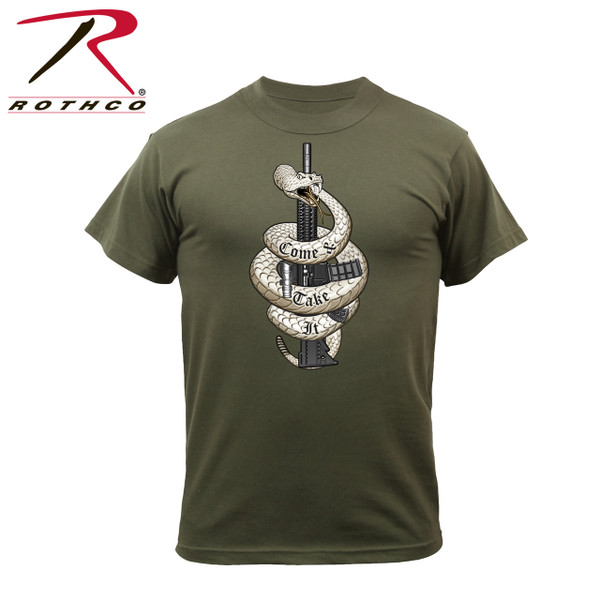 "61560-Come and Take it-Olive Drab Tee Rothco's ""Come & Take It"" printed graphic t-shirt is 60% cotton/ 40% polyester material. The front graphic features the iconic expression of defiance ""Come and Take It"" with a detailed image of a rifle and snake."