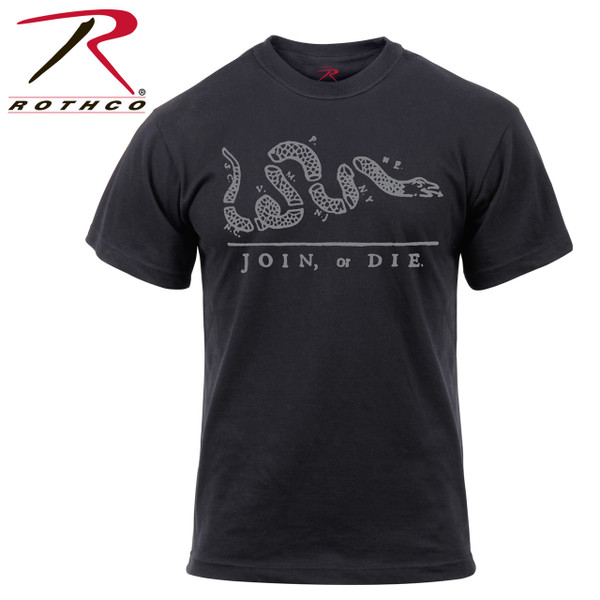 61580-Join or Die-Black Tee Rothco's 'Join or Die' T-Shirt is made of a comfortable cotton / poly material with printed 'Join or Die' text and snake graphic. The t-shirt is inspired by the Benjamin Franklin cartoon which became a symbol of Revolutionary War.
