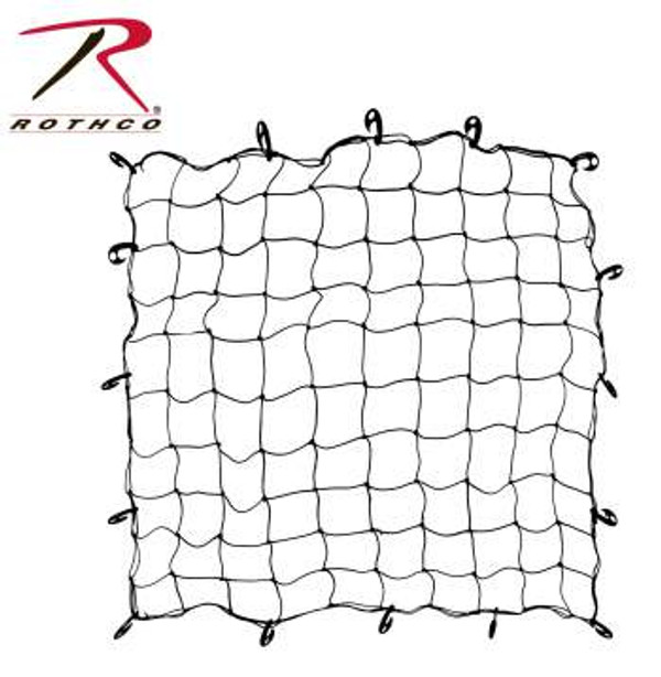 "Rothco Bungee Netting is a 60"" x 60"" elastic netting with 16 movable hooks, perfect for keeping cargo tied down."