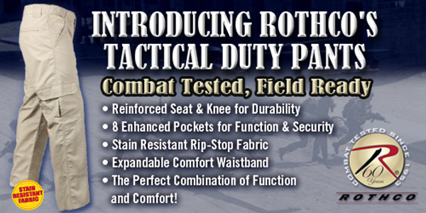 Rothco's Tactical Duty Pants are combat tested & field ready with stain resistant finish, reinforced seat & knees for durability, 8 enhanced pockets for improved function & security, expandable comfort waistband.