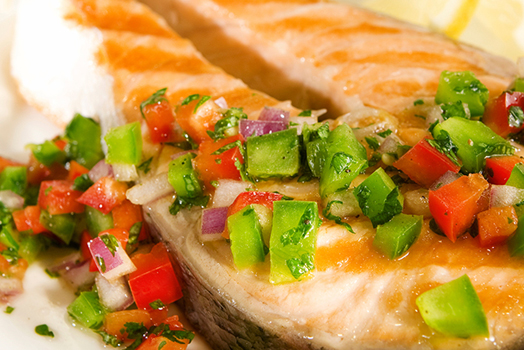 Salmon with Red Pepper Salsa