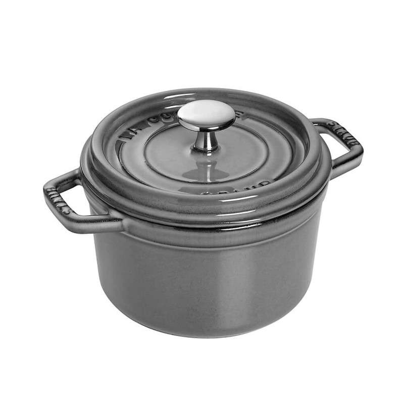 Staub 1.25-Quart Cast Iron Round Cocotte in Graphite Grey