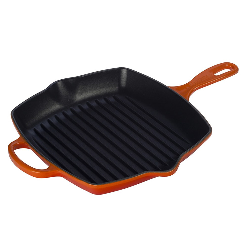 Le Creuset Cast Iron Signature Square Skillet Grill in Flame