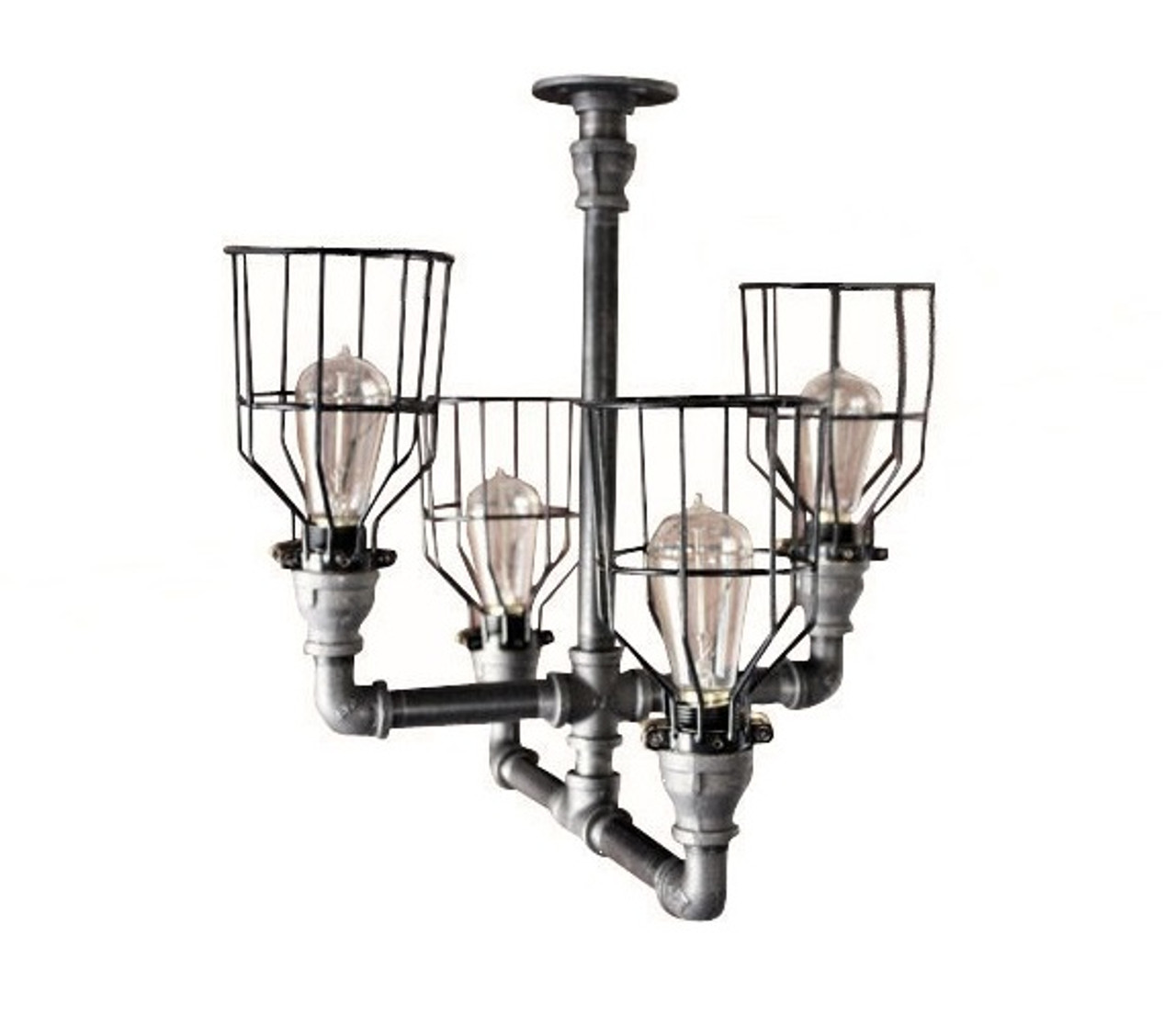 lighting cage. Black Pipe Chandelier Ceiling Light - Industrial \u0026 Cage Lighting Decor