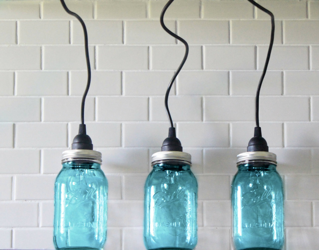Mason Jar Lighting Set Of Hanging Large Blue Mason Jar Pendant - Kitchen light fixture sets