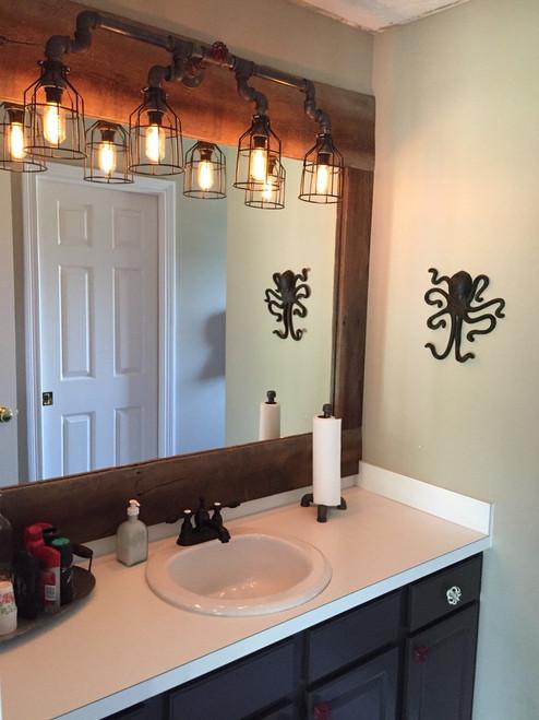 ... Vanity Lighting For Industrial Bathroom   Black Pipe Wall Sconce W/  Knob   Bathroom Vanity ...