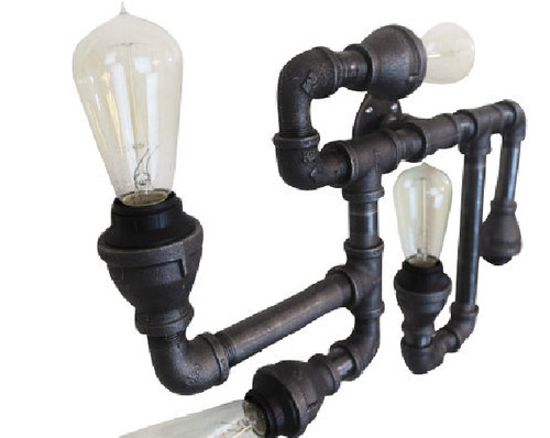 Black Pipe Wall Sconce OR ceiling fixture - Large Industrial ...