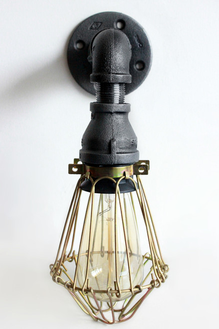 Industrial Lighting Wall Sconce w/ Brass Cages - Steampunk Bathroom ...