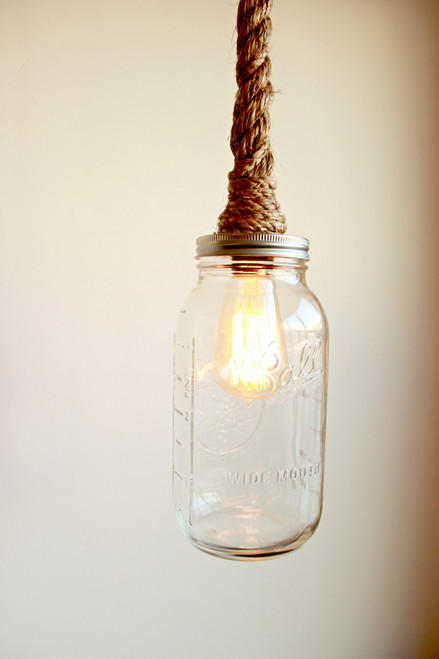 BLUE Mason Jar Rope Pendant - Hand wrapped in rope for pendent ...