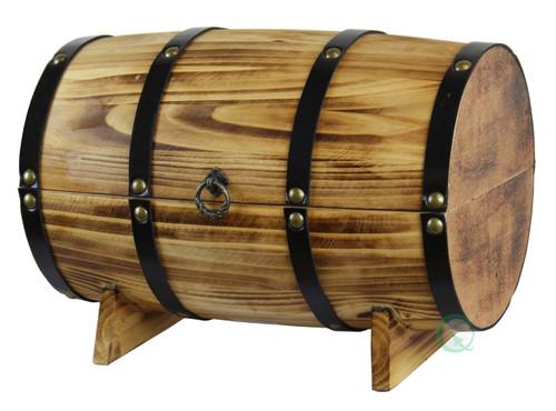 Wooden Barrel Treasure Chest