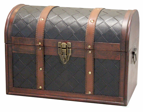 Wooden Leather Round Top Treasure Chest-Decorative storage Trunk with Lockable Latch