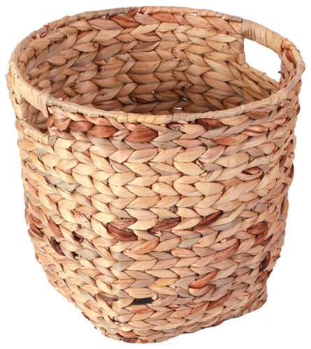 Water Hyacinth Large Round Wicker Wastebasket with Cutout Handles