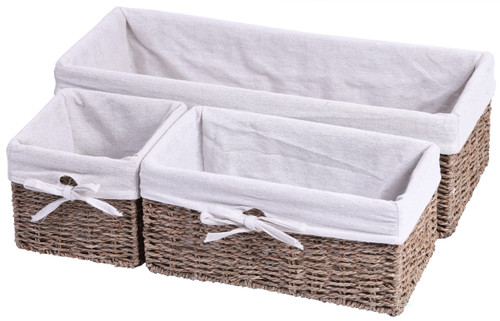Seagrass Shelf Storage Baskets with With Lining