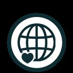 Globe with heart