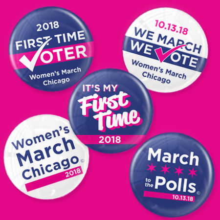 Women's March Chicago First Time Voter Button Pack
