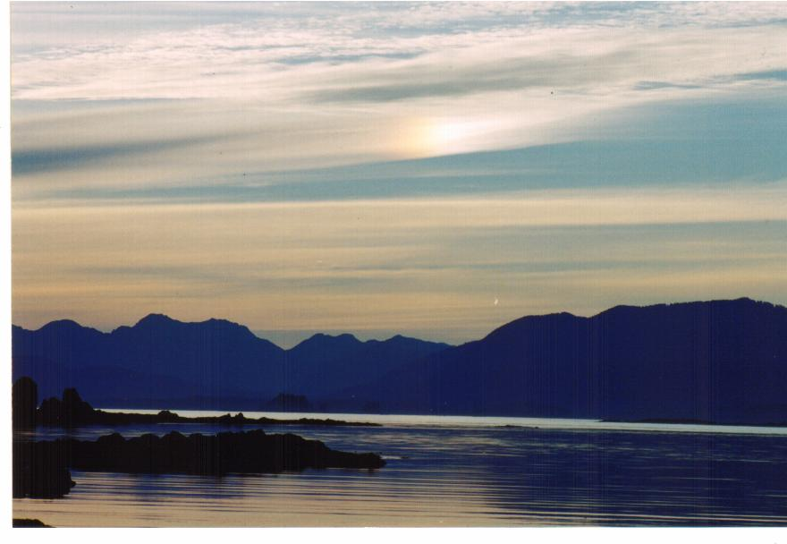 Small Island off the west side of Vancpuver Island looking towardVancouver Island.