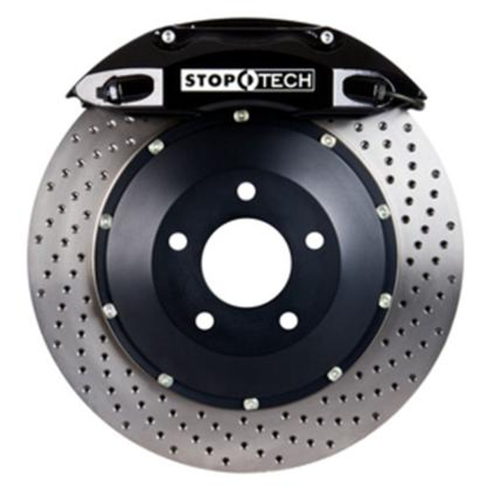 Stoptech 94-04 Ford Mustang Front BBK Black ST-40 355x32mm Drilled Rotors
