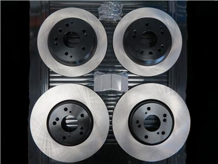 STOPTECH Premium Blank Rotors (Front/Rear) with STOPTECH Street Performance Front Pads and OEM Rear Pads - 97-05