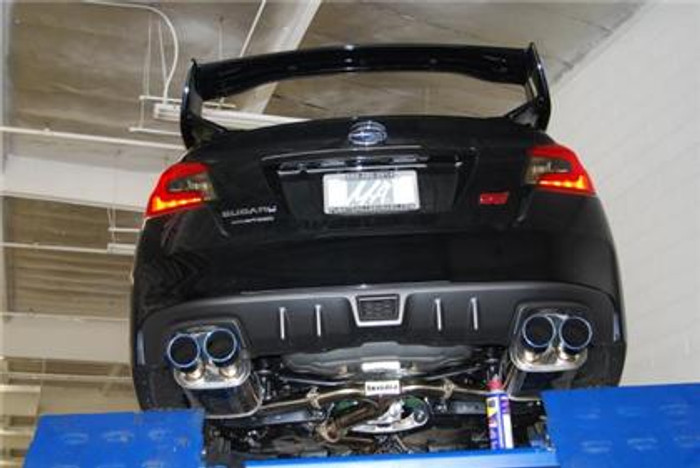 Invidia 15+ Subaru impreza STI 4Dr Q300 Twin Outlet Rolled Titanium Burnt Quad Tip Cat-Back Exhaust