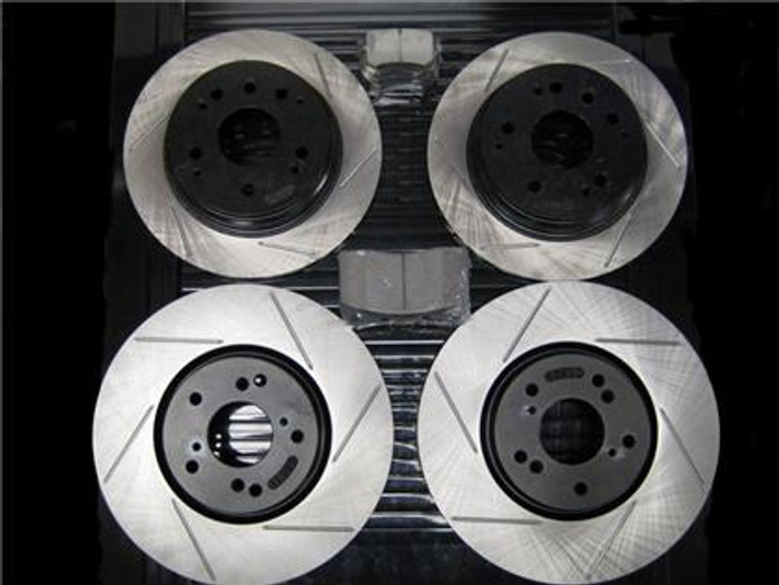 STOPTECH Slotted Rotors with STOPTECH Street Performance Pads - Full set - manual 04-06 and all TYPE-S