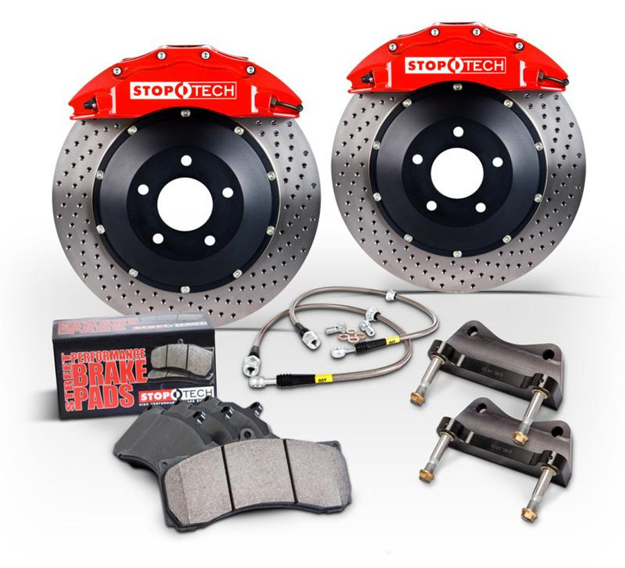 Stoptech BBK Acura TL Front Red Calipers Slotted X - Acura tl brembo calipers