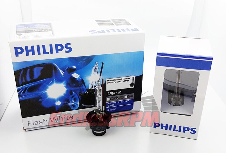Philips 6000K Ultinon Flash White D2S HID XENON Bulbs