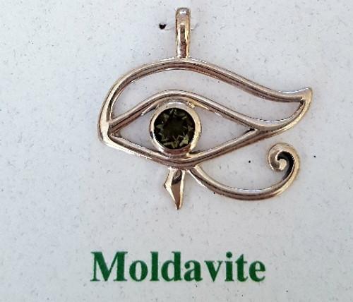 Moldavite Evil Eye Protector with Moldavite Stone & Real Silver
