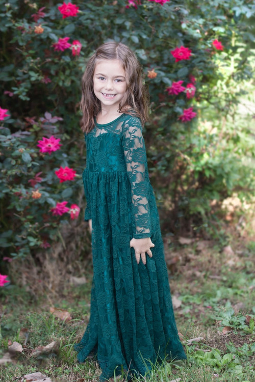 Forest Green Lace Sweetheart Dress