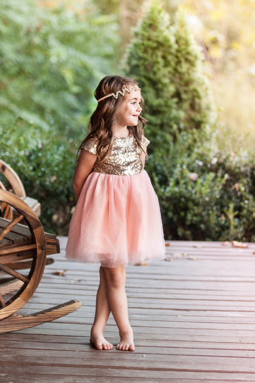 Light Coral & Gold Sequin Cap Sleeve Dress