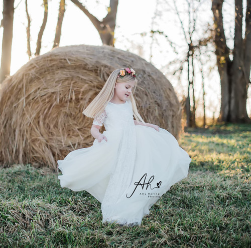 Light Ivory Lace and Tulle Overlay Dress