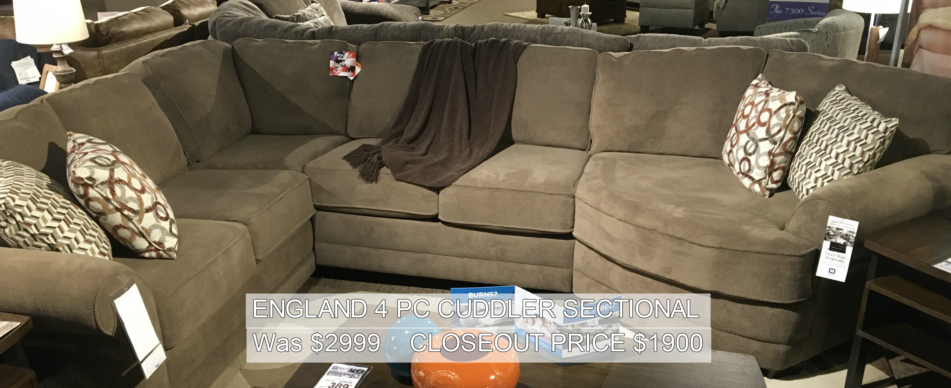 England 4PC Cuddler Sectional Only $1900