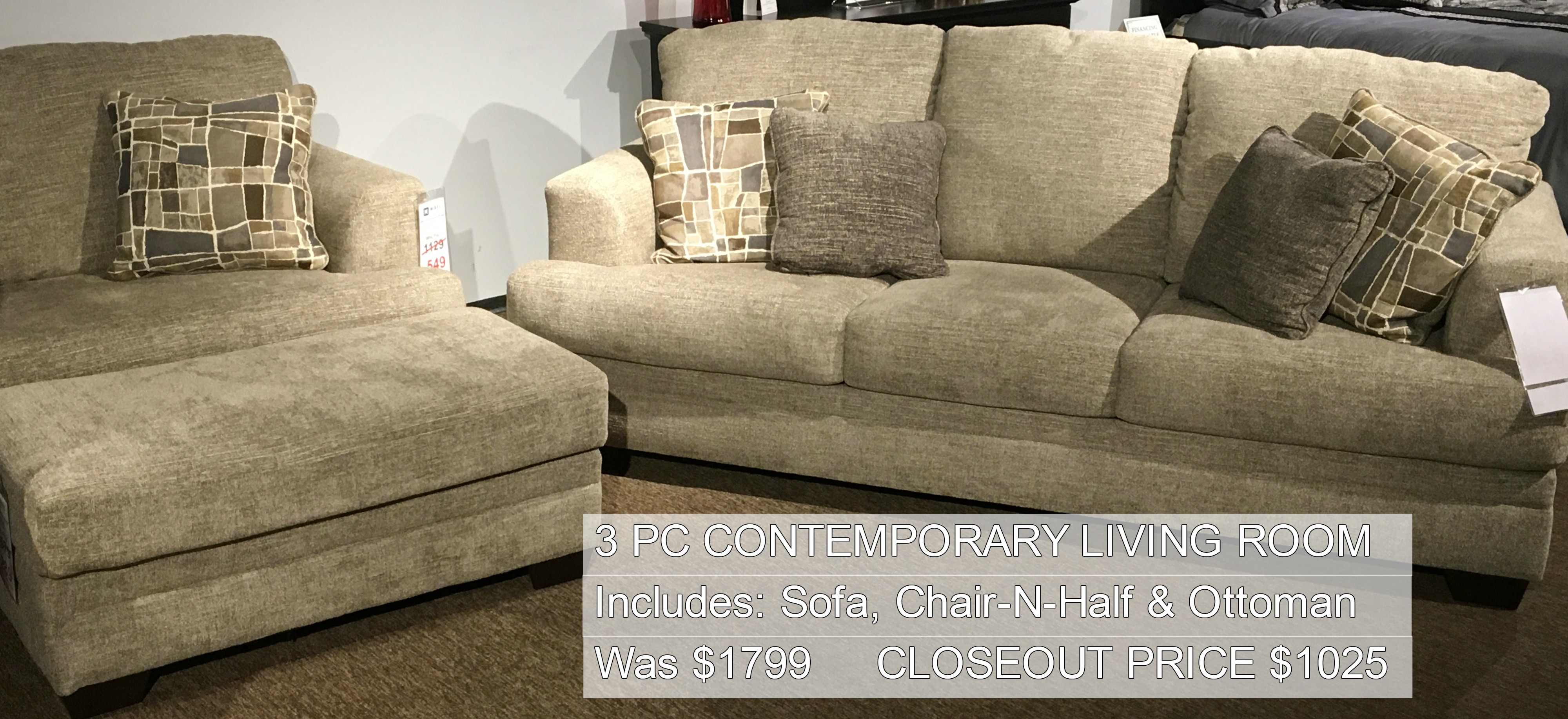 3PC Contemporary Living Room Only $1025