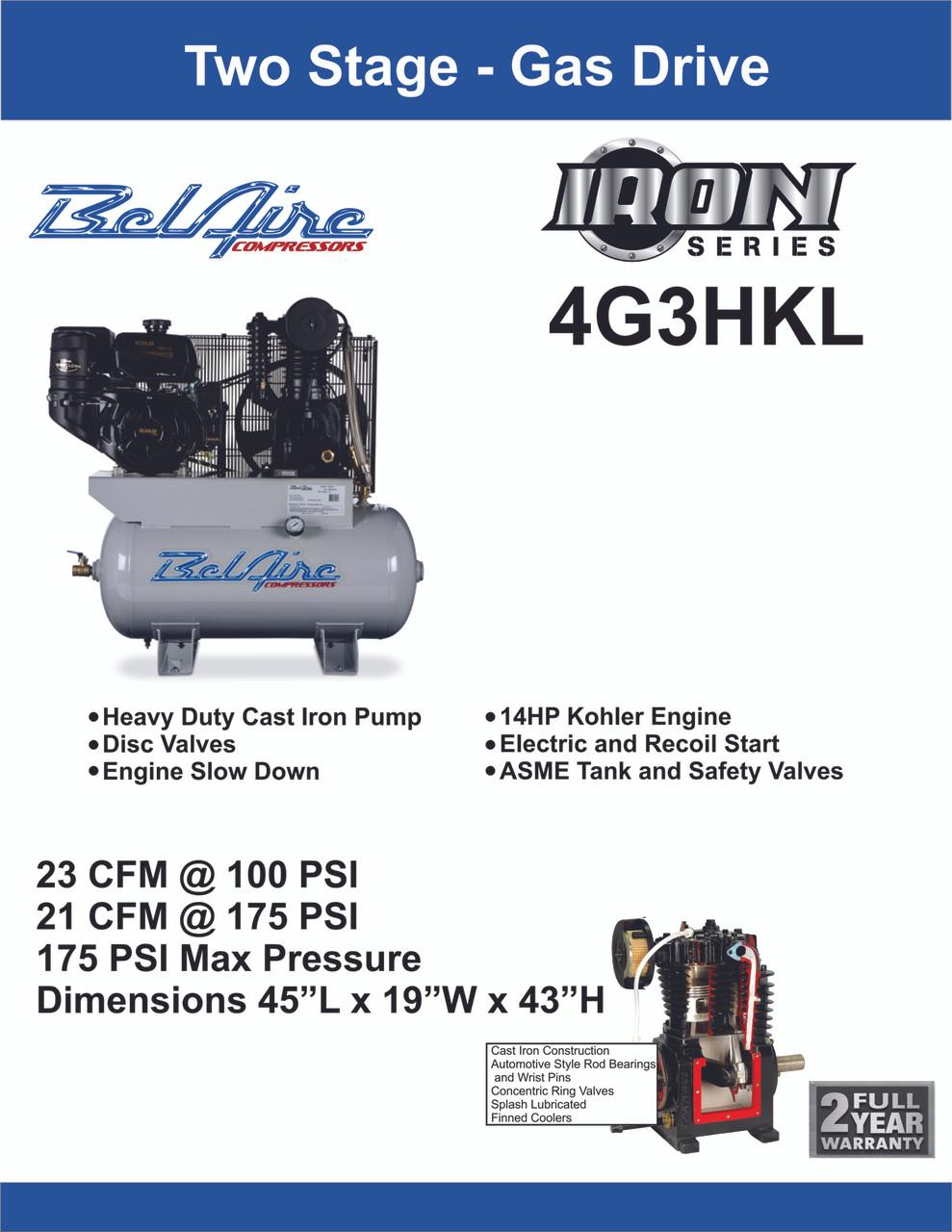 Belaire 4g3hkl 14 Hp Kohler Gas Drive Cast Iron Air Compressor Engine Diagram Spec Sheet