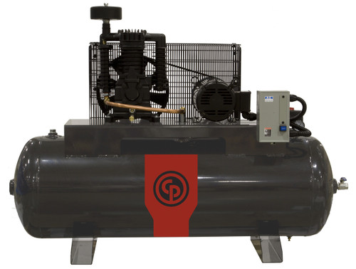 Chicago Pneumatic RCP-381HS 5 HP 208-230 Volt Single Phase Two Stage 80 Gallon Horizontal Air Compressor