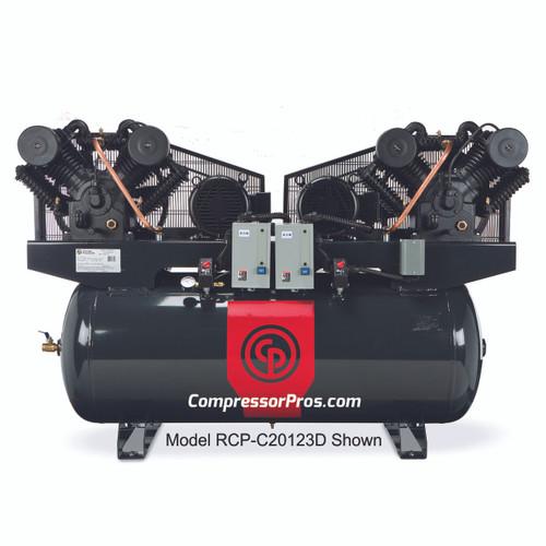 Chicago Pneuatic RCP-C20203D 2 x 10 HP 208-230 Volt Three Phase Two Stage 120 Gallon Duplex Air Compressor