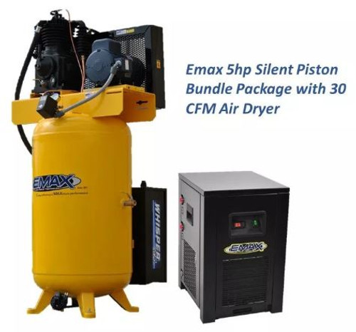 EMAX ESP05V080I3PK 5 HP Three Phase Air Compressor with Silencer and Dryer