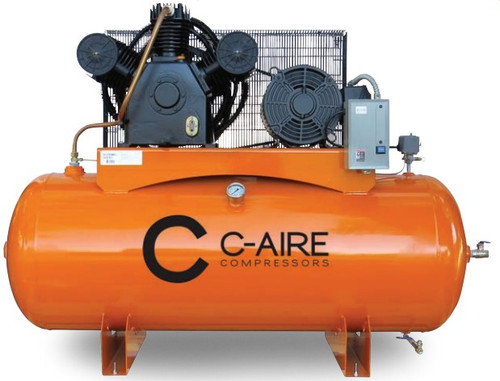 C-Aire A150H120-3230FP 15 HP 208/230 Volt Three Phase Full Featured Two Stage 120 Gallon Air Compressor