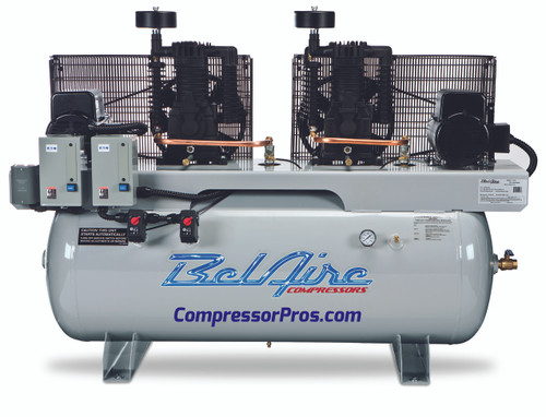 BelAire 3112DL 2 x 7.5 HP 208-230 Volt Single Phase Two Stage 50.5 CFM 120 Gallon Duplex Air Compressor