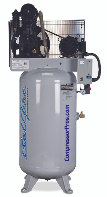 BelAire 418VL 7.5 HP 208-230 Volt Single Phase Two Stage Cast Iron 80 Gallon Air Compressor