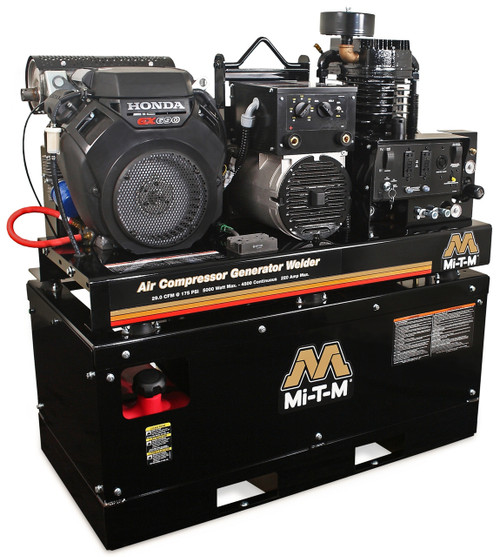 Mi-T-M AGW-SH22-20M 22 HP Honda Powered 29 CFM Air Compressor 5000 Watt Generator and Welder Combo