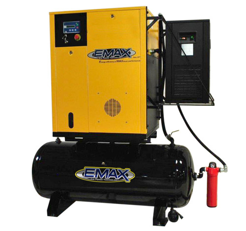 Emax ERVK070003 230 Volt 7.5 HP Three Phase Variable Speed Rotary Screw Air Compressor with Dryer